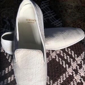 Men's Versace leather white slip on